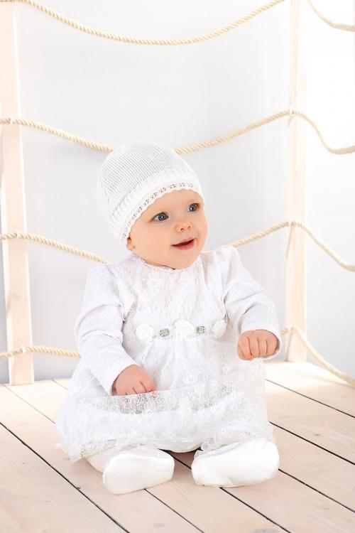 Taufkleid in weiß, Langarm aus Spitze und Jacke mit Mütze