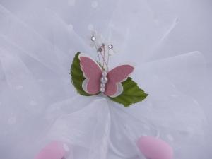 Mandelsäckchen weiß mit Pünktchen und Schmetterling