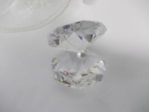 Gastgeschenk Bomboniere  edle   Cristall-Muschel mit Perle inkl. Tüllsäckchen und Kartonge