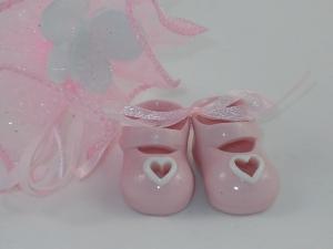 Bomboniere Porzellanschuhe rosa mit Herz