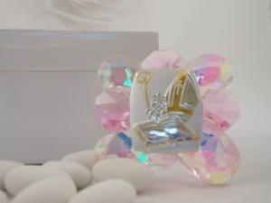 Bomboniere Kristallaufsteller zur Firmung rosa