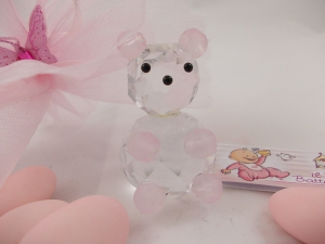 Bomboniere Kristall-Bär rosa